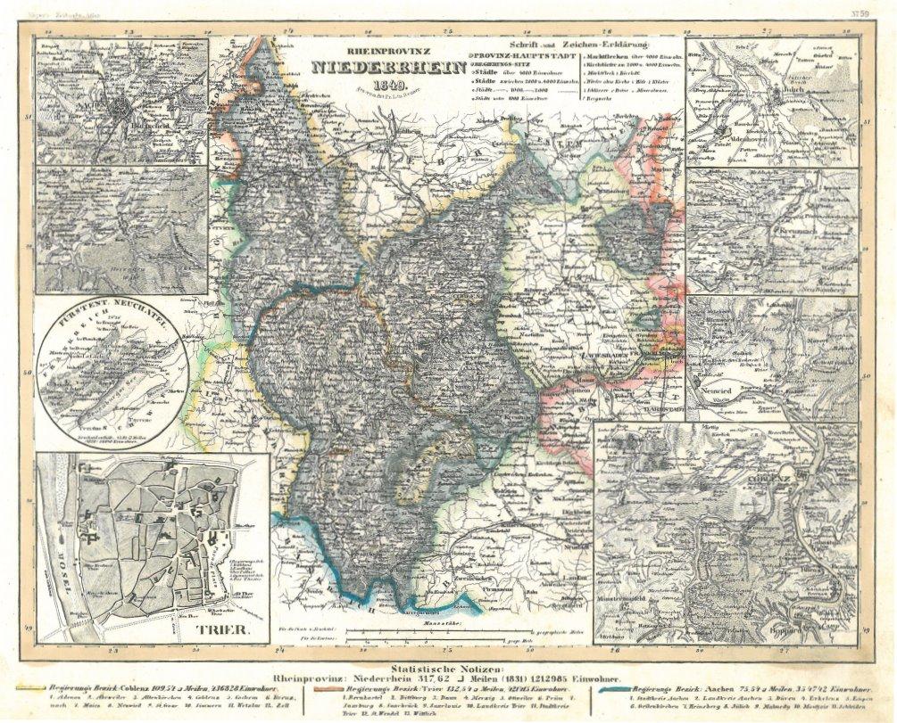 Karte Niederrhein.Niederrhein Karte
